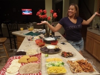 My BFF standing next to our yummy taco bar!