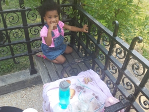 Our picnic lunch outside the Capitol Building. She enjoyed sharing with the birds.
