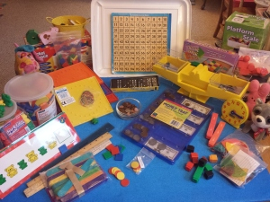 Here is a look at my math manipulatives -- they really help the girls have fun learning!