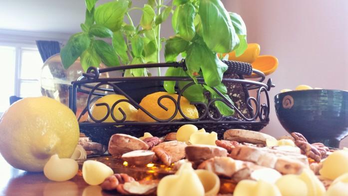 Pesto Ingrediants straight ahead shot