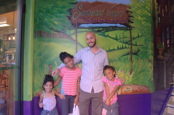 Pascal with the my girls! Left to Right: Lourdes, Lela, Pascal, and Niara.